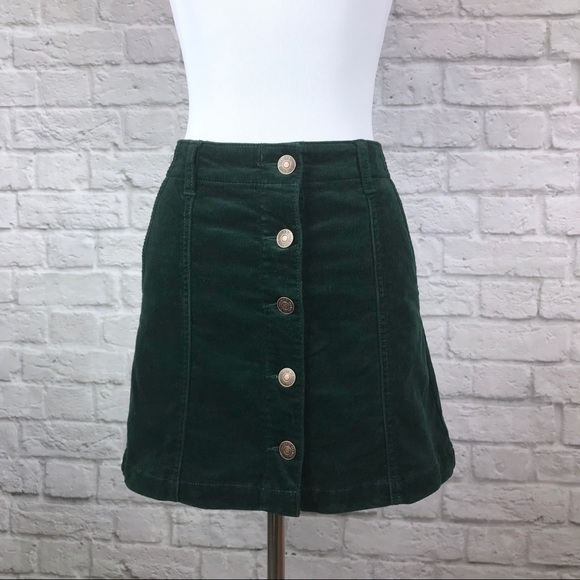 5a9a70f1fa Forever 21 Dresses & Skirts - Emerald Green Corduroy Button Front Skirt  Small